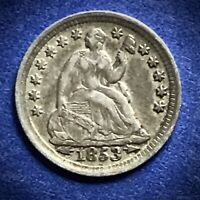 1853 SEATED LIBERTY HALF DIME COIN