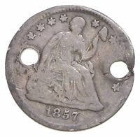 1857 SEATED LIBERTY HALF DIME   HOLED   WALKER COIN COLLECTI