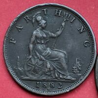 1882 H UK QUEEN VICTORIA FARTHING XF  COIN