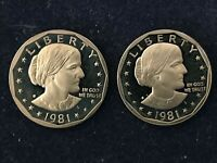 TWO 1981 S PROOF SUSAN B ANTHONY $1 DOLLAR TYPE 2 CLEAR S