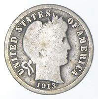 RARE   KEY DATE 1913 S BARBER LIBERTY SILVER DIME   LOW MINT