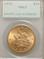1901 $20 MINT STATE 63 PCGS OGH