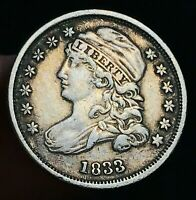 1833 CAPPED BUST DIME 10C HIGH GRADE CHOICE GOOD DATE 90 SILVER US COIN CC5642