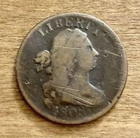 1808 DRAPED BUST HALF CENT. GOOD CONDITION.