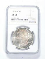 MINT STATE 63 1878-CC MORGAN SILVER DOLLAR - GRADED NGC 0857
