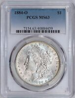 1884-O MORGAN SILVER DOLLAR - PCGS MINT STATE 63 - NEW ORLEANS MINT
