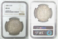 1880-S MINT STATE 64 MORGAN SILVER DOLLAR  NGC CERTIFIED   COIN /  PRICE