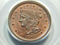 1855 1/2C BRAIDED HAIR HALF CENT MINT STATE 65RB PCGS/CAC OGH, FANTASTIC COIN
