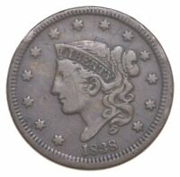 BETTER 1838 YOUNG HEAD US LARGE CENT PENNY COIN COLLECTION L