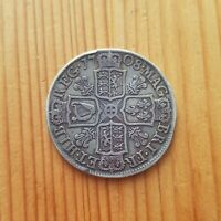 1708 QUEEN ANNE SILVER HALF CROWN PLUMES BRITISH EARLY MILLE