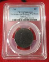 1794 FLOWING HAIR CENT/LARGE CENT  PCGS VG DETAILS  HEAD OF 1795          T1621
