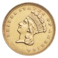 1861 $1 INDIAN PRINCESS HEAD GOLD   WALKER COIN COLLECTION
