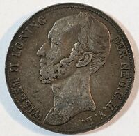 1846 NETHERLANDS SILVER GULDEN WITH R FLEUR DE LIS PRIVY MARK