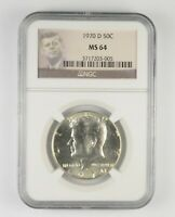 MS64 1970 D KENNEDY HALF DOLLAR   GRADED NGC  413