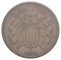 TWO CENT   1871 US TWO 2 CENT PIECE   FIRST COIN WITH IN GOD WE TRUST MOTTO  249