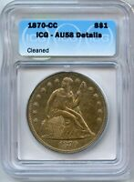 1870-CC SEATED LIBERTY SILVER DOLLAR ICG AU58 DETAILS $1 CARSON CITY COIN JK201
