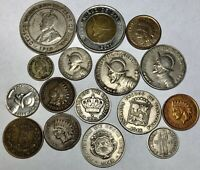 LOT OF 16  OLD FOREIGN AND US COINS. 1870 INDIAN AND A COUPL