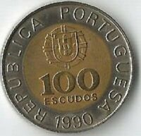 ERROR PORTUGAL 100 ESCUDOS 1990. 990 IS DOUBLE DIE.