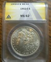 1902-O BEAUTIFUL NEW ORLEANS MINTED ANACS MINT STATE 62 DETAILS MORGAN SILVER DOLLAR
