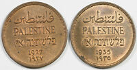 LOF OF TWO PALESTINE 1 MIL BRONZE COINS: 1927 & 1935 CHOICE