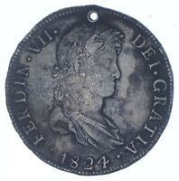BETTER DATE   1824 COLONIAL BOLIVIA 8 REALES   SILVER  099