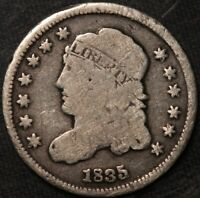 1835 CAPPED BUST HALF DIME, LY CIRCULATED, ORIGINAL SURFACES, TONING
