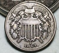 1864 TWO CENT PIECE 2C FULL MOTTO CHOICE CIVIL WAR DATE US COPPER COIN CC6276