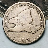 1858 FLYING EAGLE CENT ONE PENNY 1C SMALL LETTERS CIVIL WAR ERA US COIN CC6537