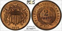 1864 LARGE MOTTO 2 CENT PIECE PCGS SECURE MINT STATE 66 RB & CAC APPROVED LOTS OF RED