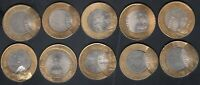INDIA 10 DIFFERENT BIMETAL COIN WITH  OFF CENTRE ERRORS ..3