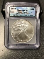 2007 AMERICAN SILVER EAGLE ICG MS70 FIRST STRIKE COIN.