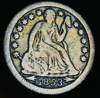 1853 O SEATED LIBERTY DIME 10C ARROWS DIE CRACK GOOD DATE SILVER US COIN CC4663