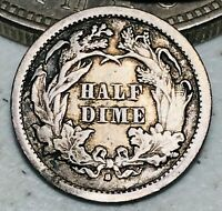 1872 S SEATED LIBERTY HALF DIME 5C MINT MARK BELOW GOOD SILVER US COIN CC6561