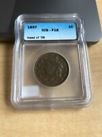 ICG GRADED IN ORIGINAL F-15 CONDITION 1837 U.S. LARGE CENT HEAD OF 38