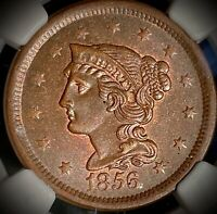 1856 UNITED STATES BRAIDED HAIR LARGE CENT SLANTED 5 NGC MINT STATE 63 BROWN
