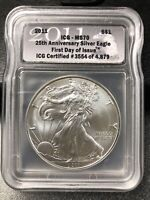 2011 SILVER EAGLE $1 FIRST DAY OF ISSUE - ICG MS70  25TH ANNIVERSARY