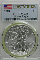 2018 AMERICAN SILVER EAGLE PCGS MS 70 FIRST STRIKE