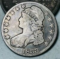 1833 CAPPED BUST HALF DOLLAR 50C UNGRADED GOOD DATE CHOICE US SILVER COIN CC6588