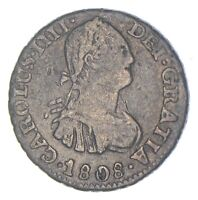 BETTER DATE   1808 COLONIAL BOLIVIA 1/2 REAL   SILVER  759