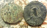LOT OF 2 VF FOR TYPE BYZANTINES: BASIL II AND PHOCAS  CHRIST COIN IS 33 MM