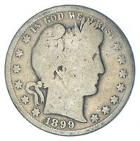 BETTER 1899 S   US BARBER 90  SILVER HALF DOLLAR COIN COLLEC