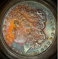 1884CC MORGANDOLLARPCGS MINT STATE 63 CAC TONED MONSTER