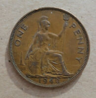 GREAT BRITAIN 1940 PENNY BRONZE COIN KM 845 KING GEORGE VI
