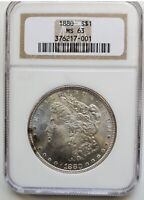 1880 MORGAN DOLLAR NGC MINT STATE 63