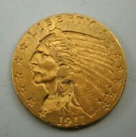 1911 US   $2 1/2 DOLLAR GOLD INDIAN HEAD QUARTER EAGLE COIN