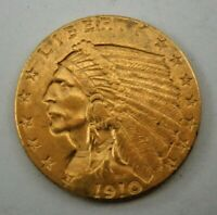 1910 US   $2 1/2 DOLLAR GOLD INDIAN HEAD QUARTER EAGLE COIN