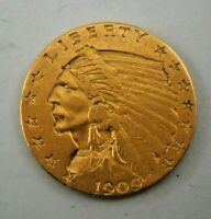 1909 US   $2 1/2 DOLLAR GOLD INDIAN HEAD QUARTER EAGLE COIN
