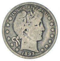 BETTER 1893   US BARBER 90  SILVER HALF DOLLAR COIN COLLECTI