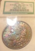 1888 RAINBOW TONED MORGAN SILVER DOLLAR NGC MINT STATE 64 BINION COLLECTION