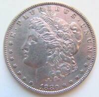 ANTIQUE US $ 1 MORGAN DOLLAR 1880 SILVER 0.900 PHILADELPHIA MINT REGULAR ISSUE